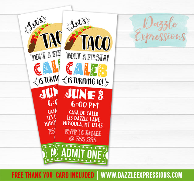 Taco Fiesta Ticket Invitation - FREE thank you card