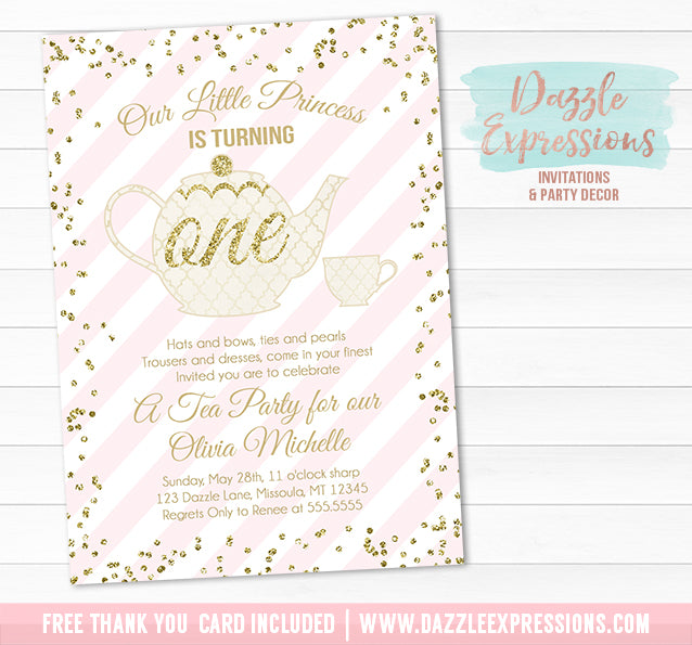 Tea Party - Pink and Gold Invitation 1 - FREE thank you card