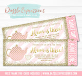 Tea Party - Pink and Gold Ticket Invitation - FREE thank you card