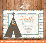 Modern Teepee and Arrows Birthday Invitation - FREE thank you card included