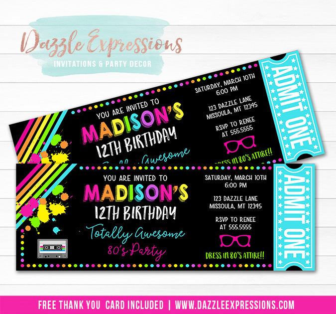 Totally 80s Ticket Invitation - FREE thank you card
