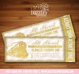 Pink and Gold Glitter Train Ticket Invitation - FREE thank you card