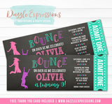 Trampoline Chalkboard Ticket Invitation 2 - FREE thank you card