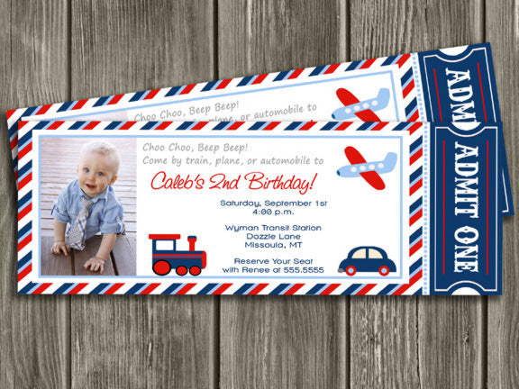 Transportation Ticket Invitation 1 - FREE thank you card included