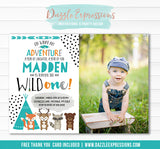 Wild One - Tribal Woodland Invitation 6 - FREE thank you card and back side