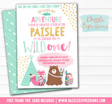 Wild One - Tribal Woodland Invitation 4 - FREE thank you card and back side