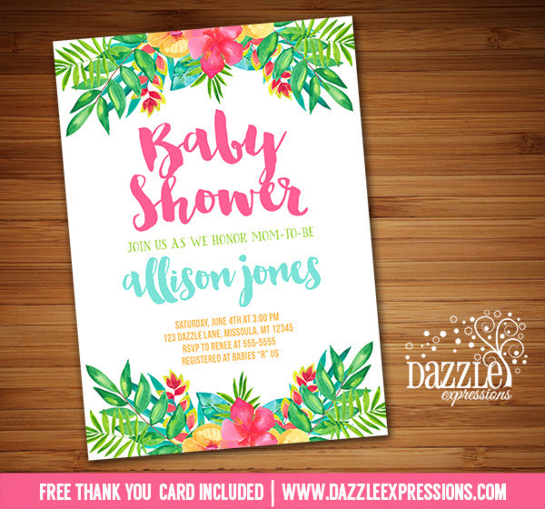 Tropical Flowers Baby Shower Invitation - FREE thank you card