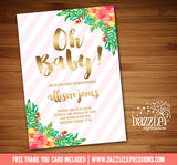 Tropical Flowers with Gold Baby Shower Invitation - FREE thank you card