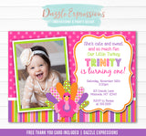 Turkey Birthday Invitation 3 - FREE thank you card included