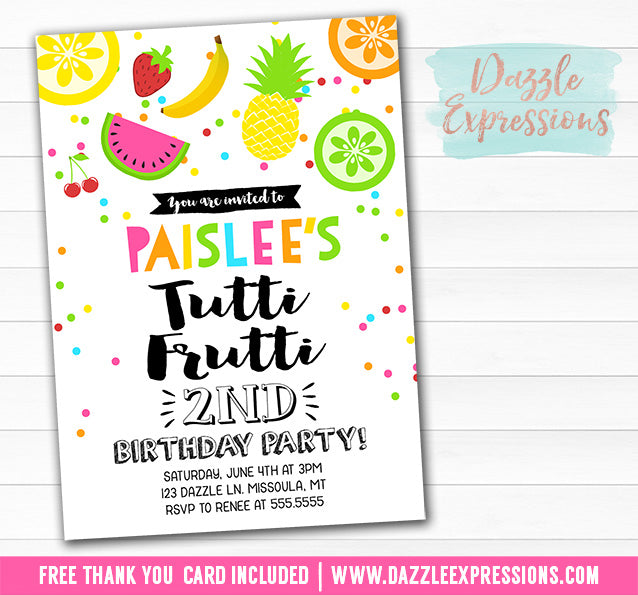 Tutti Frutti Birthday Invitation 3 - FREE thank you card included