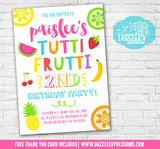 Tutti Frutti Birthday Invitation 1 - FREE thank you card included
