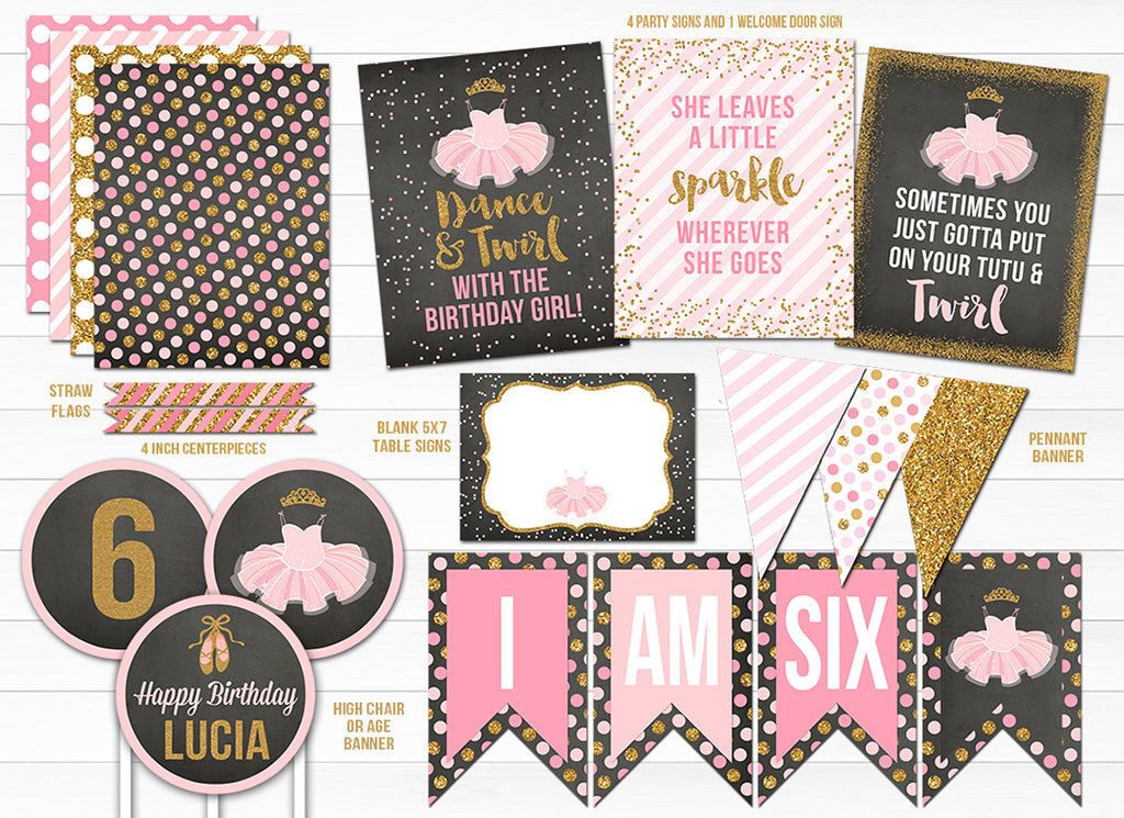 Tutu Glitter Chalkboard Party Package - Printable