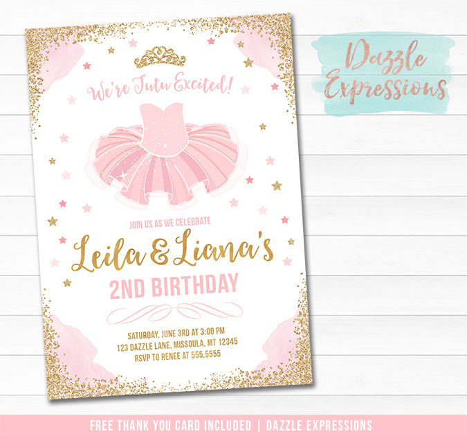 Tutu Pink and Gold Invitation 1 - FREE thank you card and back