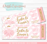 Tutu Pink and Gold Twins Ticket Invitation 1 - FREE thank you card