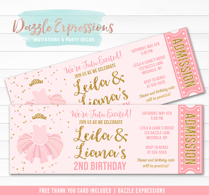 Tutu Pink and Gold Twins Ticket Invitation 2 - FREE thank you card