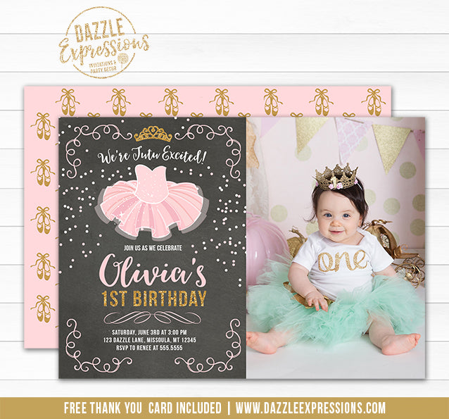 Tutu Pink and Gold Chalkboard Invitation 2 - FREE thank you card and back