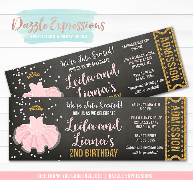 Tutu Pink and Gold Twins Chalkboard Ticket Invitation - FREE thank you card