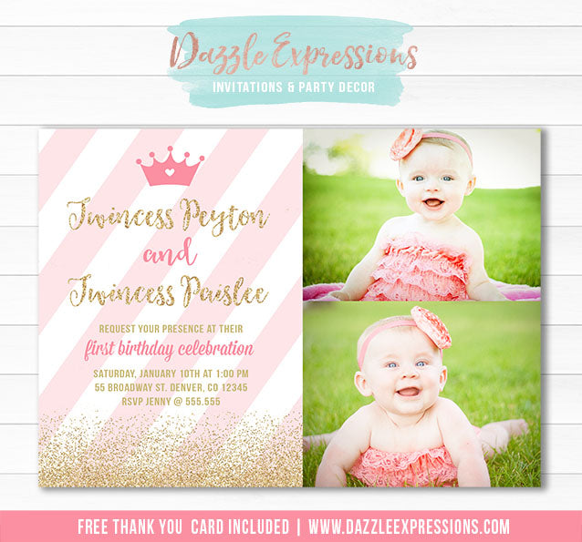Twincess Birthday Invitation 1 - FREE thank you card included