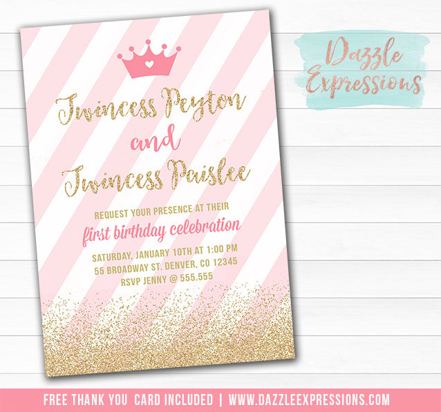 Twincess Birthday Invitation 2 - FREE thank you card included