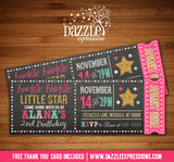 Twinkle Little Star Chalkboard Ticket Invitation 3 - FREE thank you card included