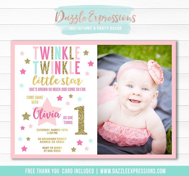 Twinkle Little Star Invitation 1 - FREE thank you card included