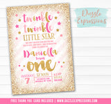 Twinkle Little Star Invitation 9 - FREE thank you card included