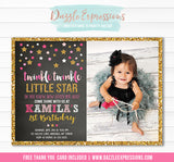 Twinkle Little Star Chalkboard Invitation 1 - FREE thank you card included