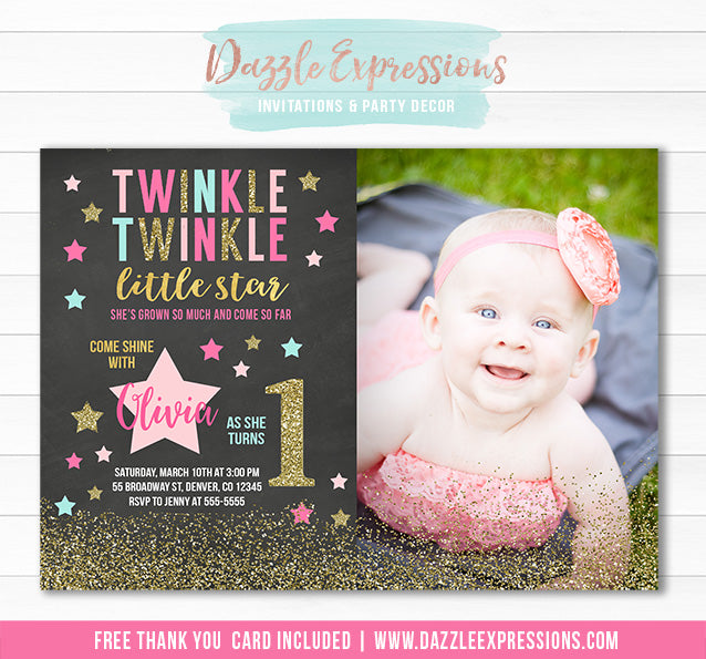 Twinkle Little Star Chalkboard Invitation 6 - FREE thank you card included
