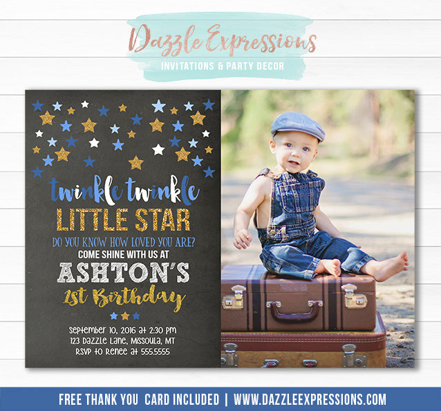 Twinkle Little Star Chalkboard Invitation 7 - FREE thank you card included