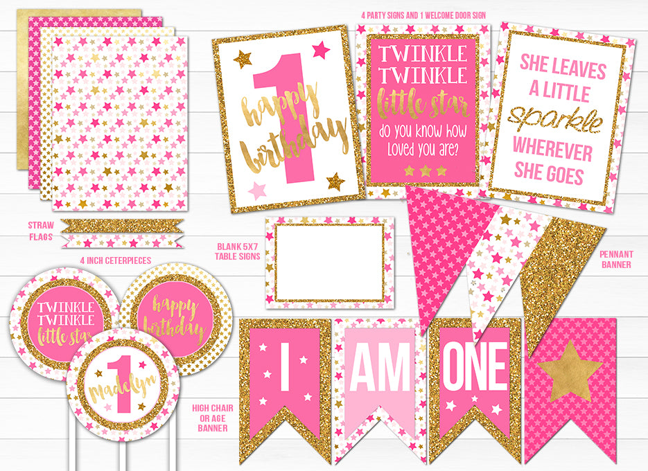 Twinkle Twinkle Little Star Pink and Gold Complete Party Package