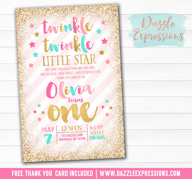 Twinkle Little Star Invitation 10 - FREE thank you card included