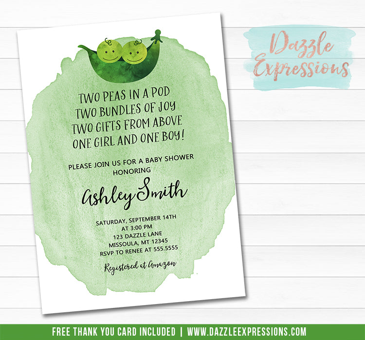 Two Peas in a Pod Watercolor Baby Shower Invitation - FREE Thank You Card Included