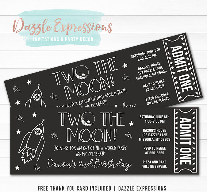 Two the Moon Ticket Invitation - FREE thank you card included