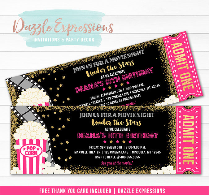 Under the Stars Movie Ticket - Pink and Gold 2  - FREE thank you card