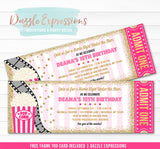Under the Stars Movie Ticket - Pink and Gold 1  - FREE thank you card