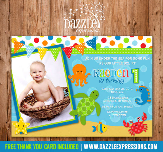 Under the Sea Invitation 2 - FREE thank you card included