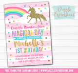 Unicorn Birthday Invitation 5 - FREE thank you card included
