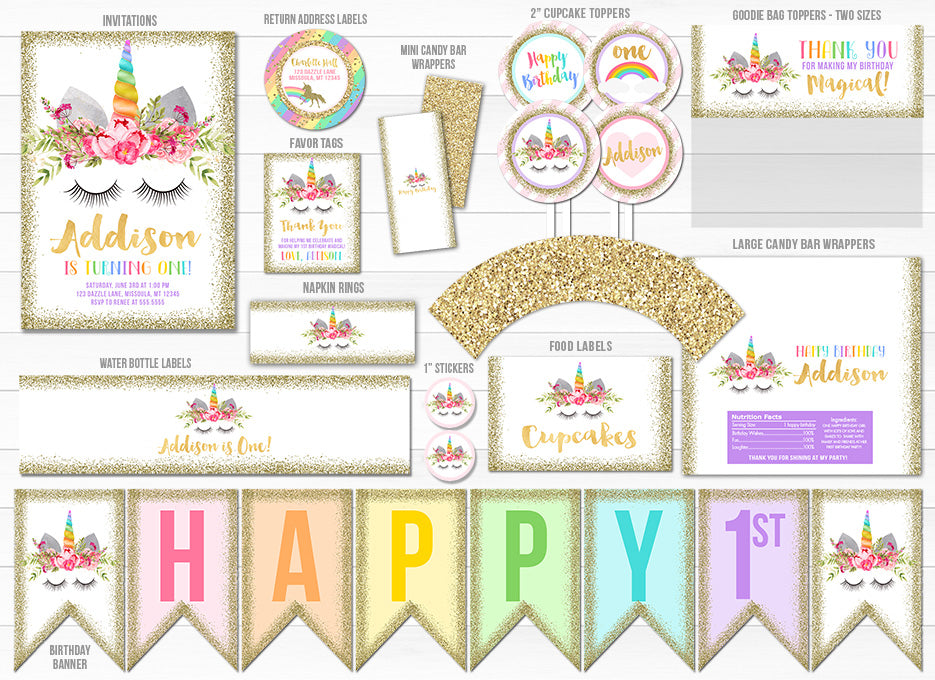 Unicorn Glitter Complete Party Package 2 - Printable