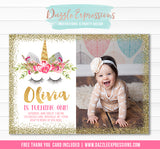 Unicorn Birthday Invitation 11 - FREE thank you card included