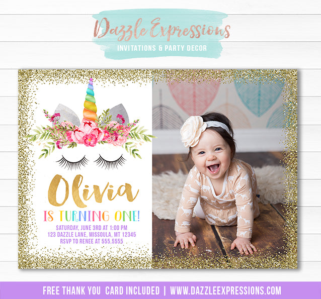 Unicorn Birthday Invitation 12 - FREE thank you card included