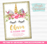 Unicorn Birthday Invitation 6 - FREE thank you card included