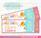 Unicorn Float Pool Party Ticket Invitation 1 - FREE thank you card