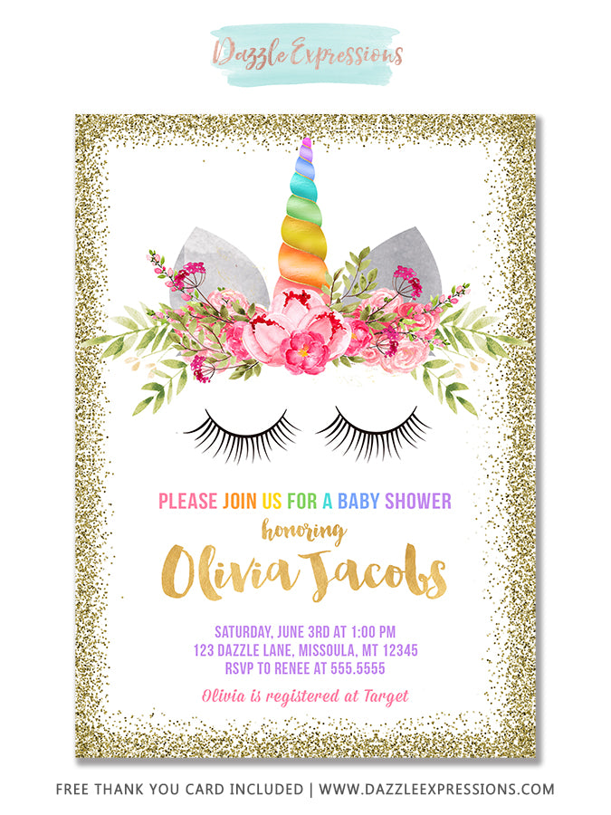 Unicorn Baby Shower Invitation 2 - FREE thank you card