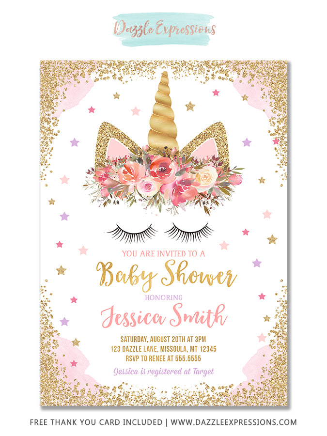 Unicorn Baby Shower Invitation 3 Free Thank You Card Dazzle Expressions