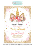 Unicorn Baby Shower Invitation 3 - FREE thank you card