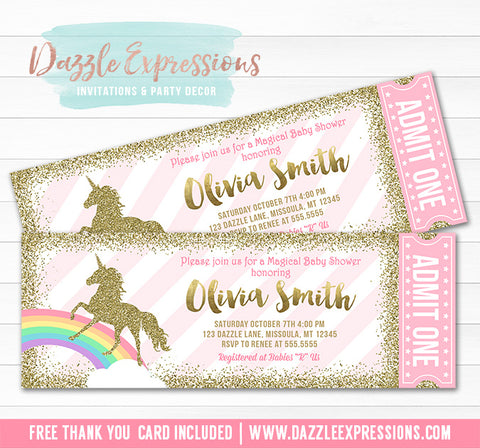 Unicorn Glitter Baby Shower Ticket Invitation - FREE thank you card