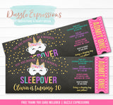 Unicorn Sleepover Chalkboard Ticket Invitation 1 - FREE thank you card
