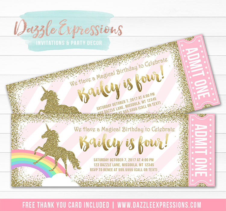 Unicorn Glitter Ticket Invitation 1 - FREE thank you card