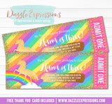 Unicorn Glitter Ticket Invitation 6 - FREE thank you card