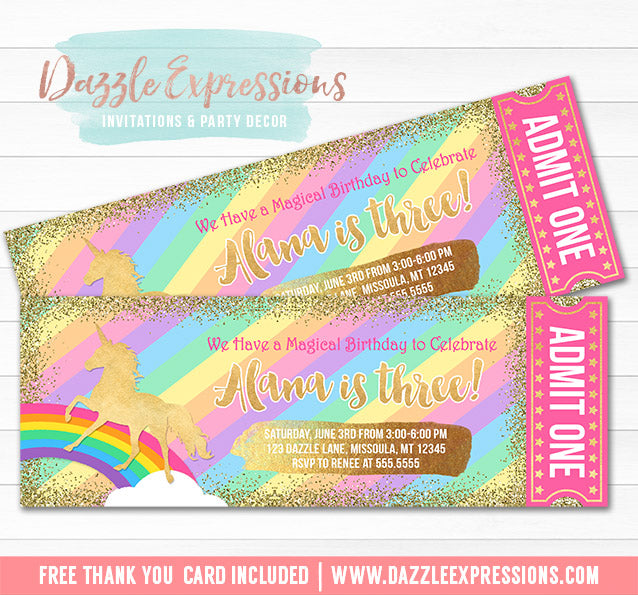 Unicorn Glitter Ticket Invitation 8 - FREE thank you card